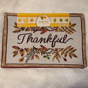 """Tapestry Placemats """"Thankful"""" Set of 4 Reversible"""